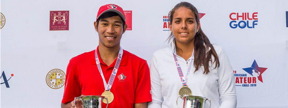 Chris Crisologo y María Fernanda Escauriza, ganadores del Abierto Sudamericano Amateur 2019